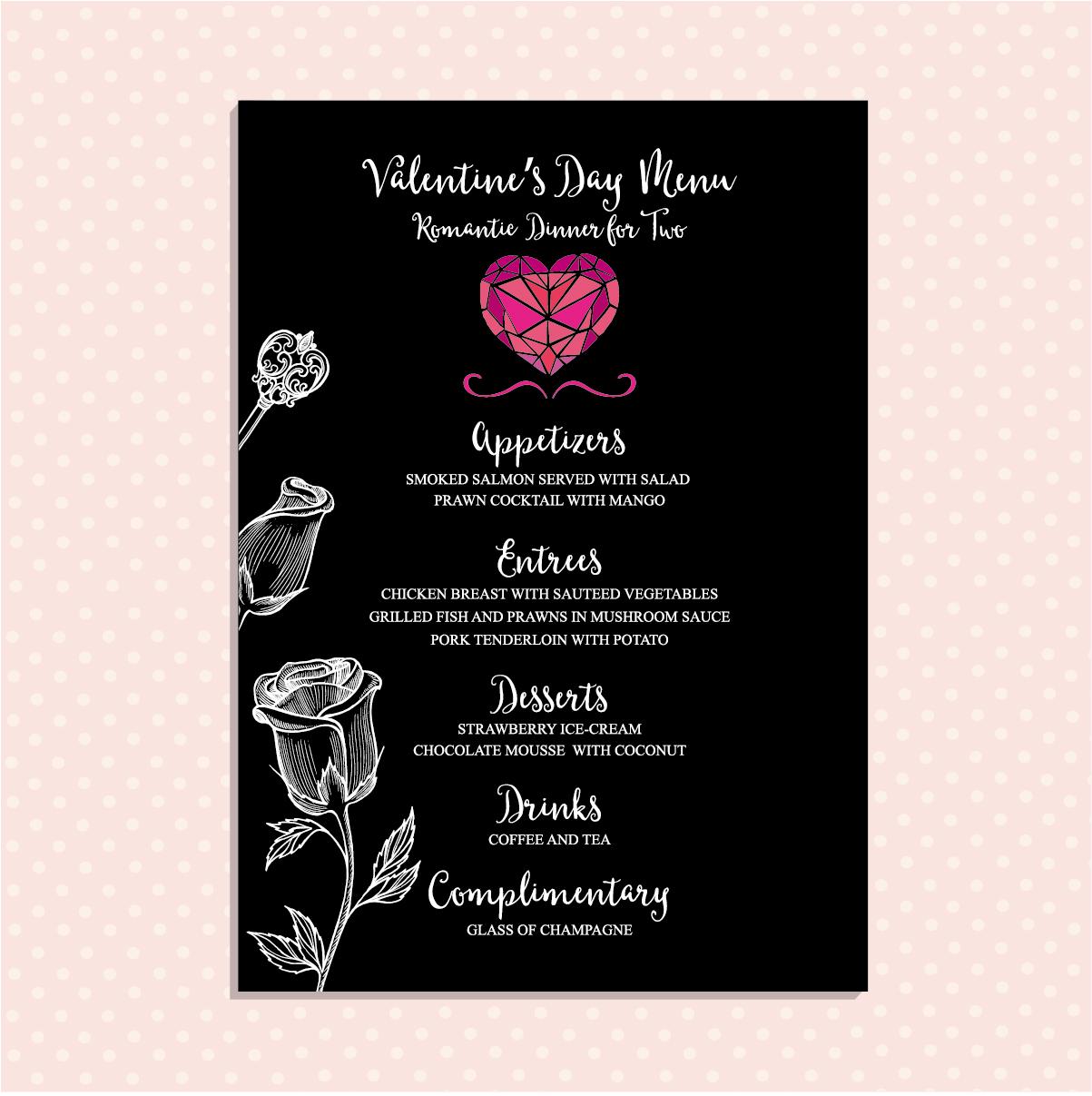 1203x1207 Valentines Day Restaurant Menu Vintage Vector 06 Free Download