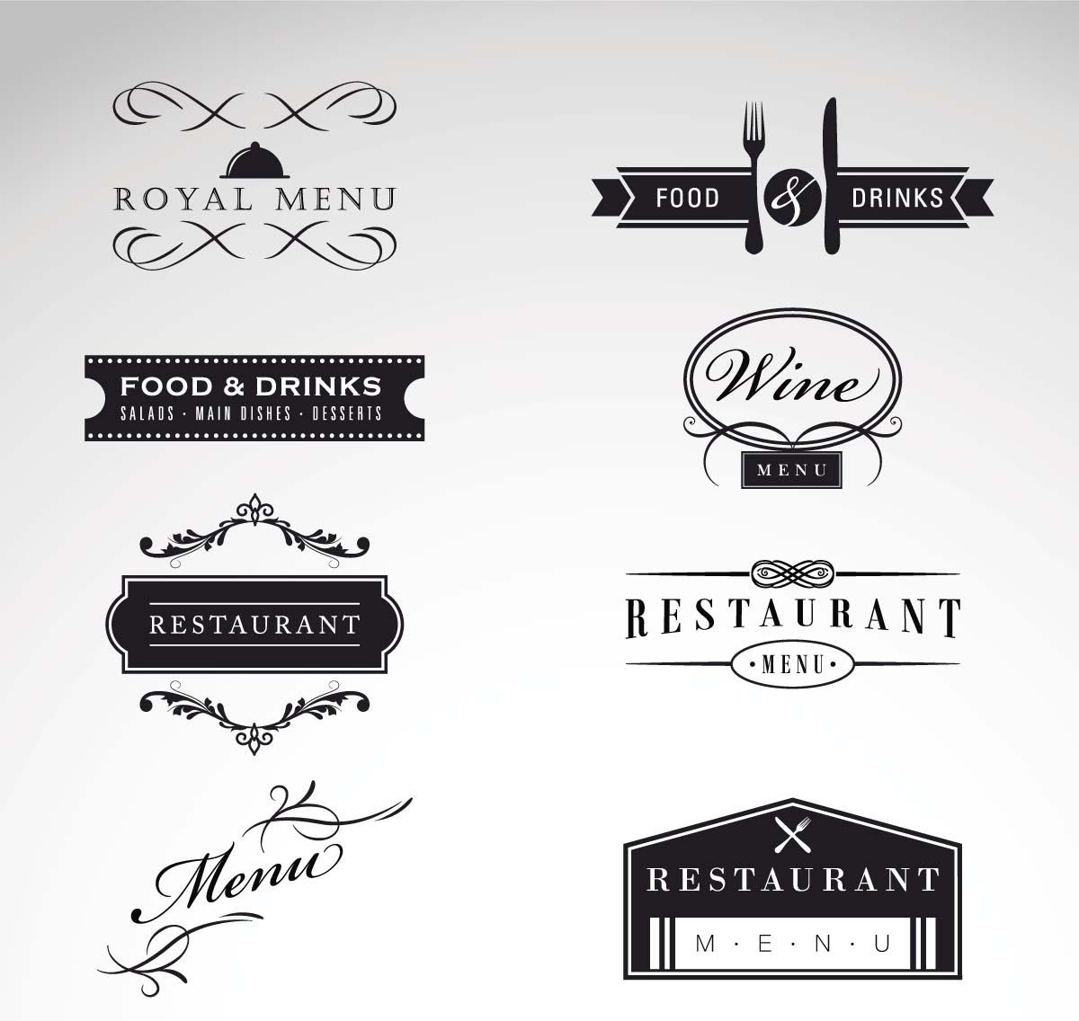 1200x1136 Vintage Logo Restaurant Menu Vector Set Free Download