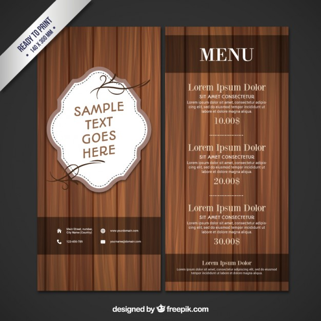 626x626 Wooden Restaurant Menu Vector Free Download