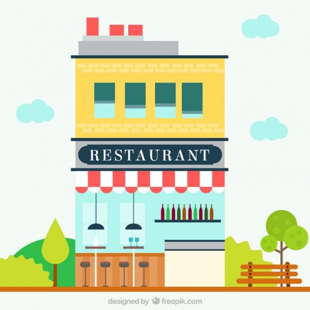 626x626 Facade Building Restaurant Vector Premium Download