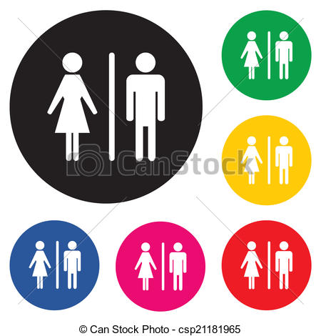 450x470 Male Female Restroom Symbol Icon With Color Variations. Clip Art