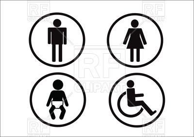 400x283 Restroom Symbols Of Man Woman Disability And Child Vector Image