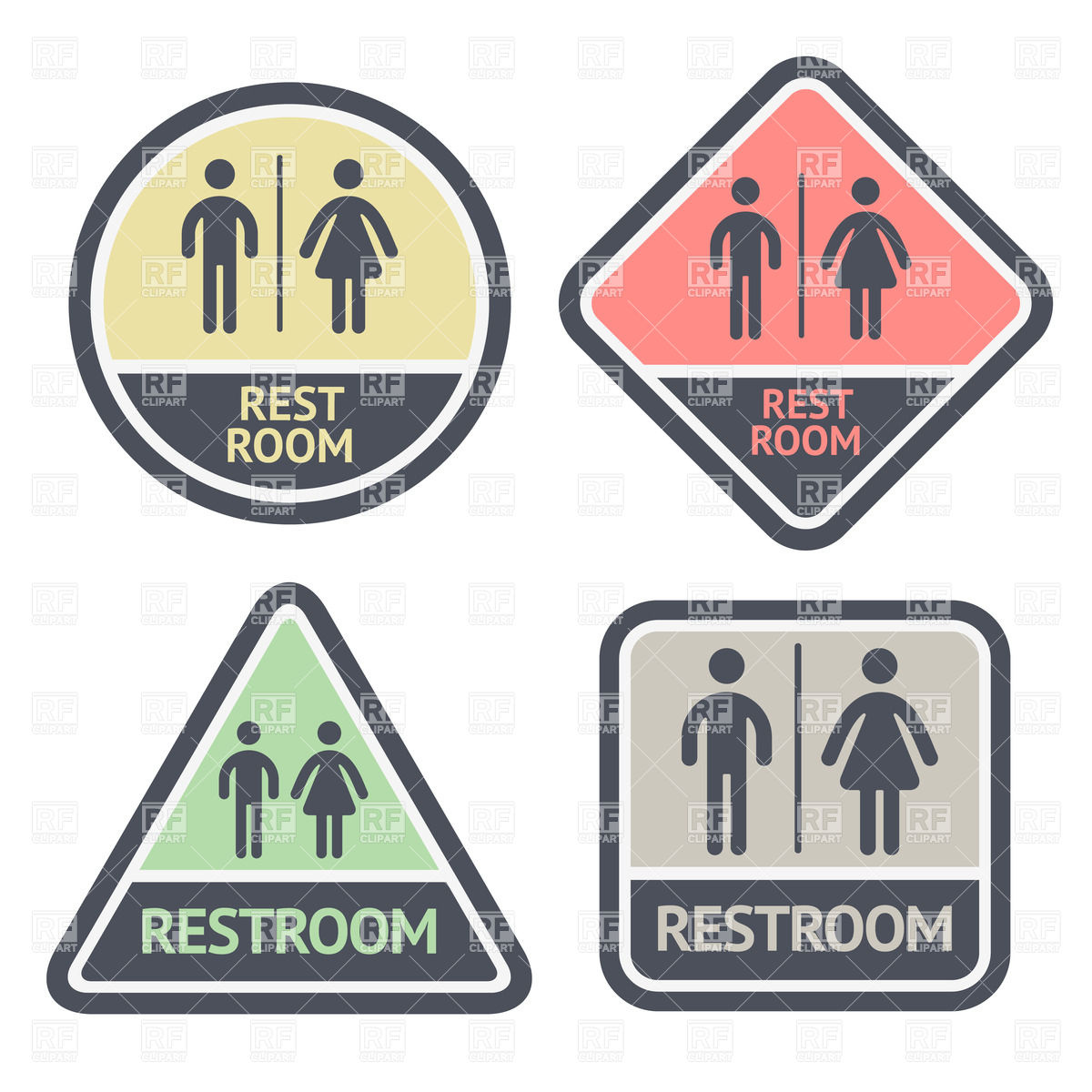 1200x1200 Round, Square And Triangle Flat Restroom Symbols Vector Image