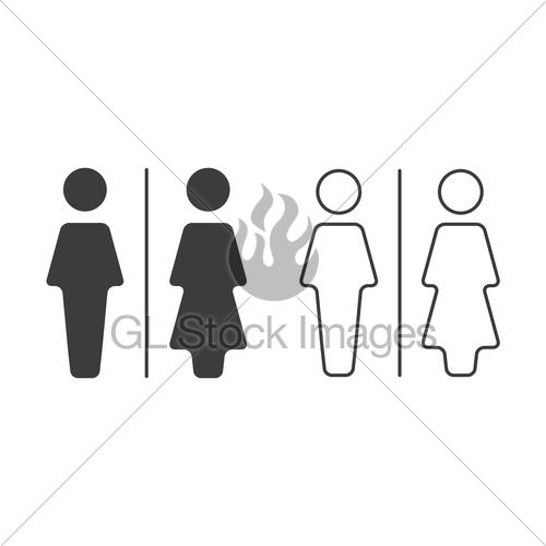 500x500 Simple Grey And White Wc Symbols, Vector Restroom Illustr... Gl