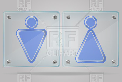 400x267 Transparent Glass Doorplates With Man And Woman Wc Signs