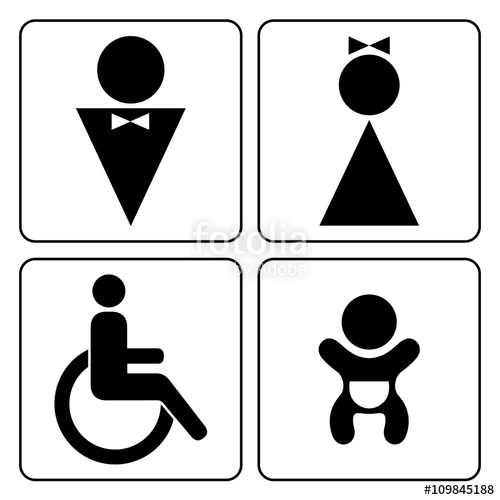 500x500 Wc Signs Set. Man, Woman, Mother With Baby And Handicapped