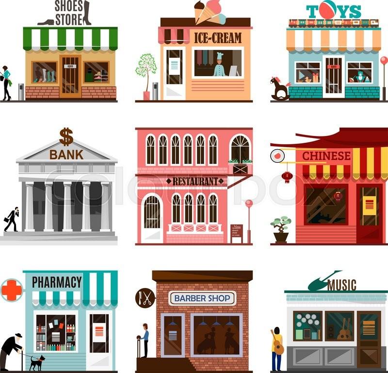 800x768 Set Of Flat Shop Building Facades Icons. Vector Illustration Local