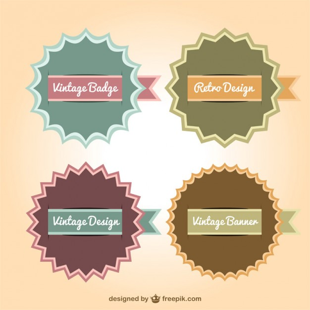 626x626 Retro Banner Badges Collection Vector Free Download