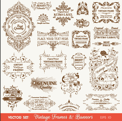 397x395 Vintage Deco Labels And Banners Vector Free Download