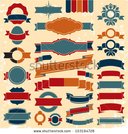 450x470 Vintage Ribbon Logo Image Royalty Free