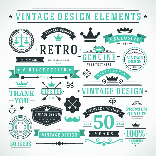 500x500 Vintage Robbon Banner With Labels Vector Free Vector In
