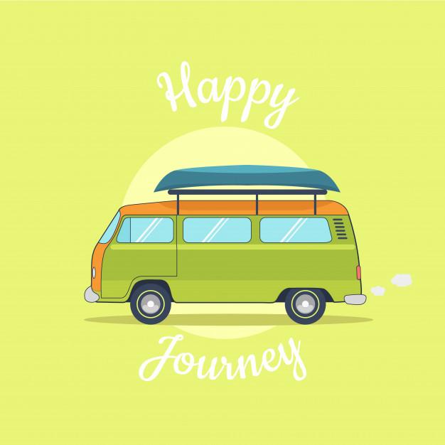 626x626 Retro Camper Van Journey And Holidays Vector Premium Download