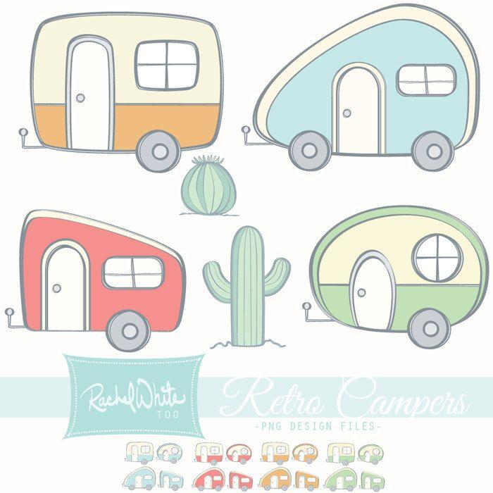 700x700 Retro Campers Vector Illustrations