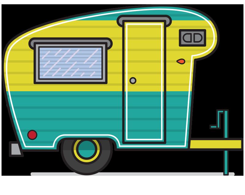 800x637 Retro Campers Vector Illustrations