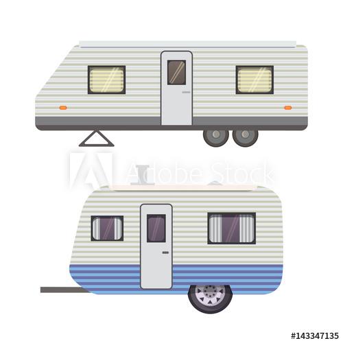 500x500 Retro Camper Trailer Collection. Car Trailers Caravan. Tourism