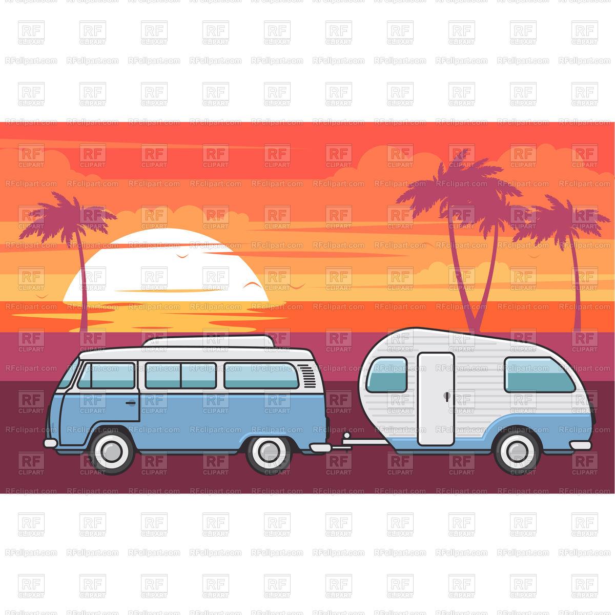 1200x1200 Retro Van With Camper Trailer And Evening Sea Beach Vector Image