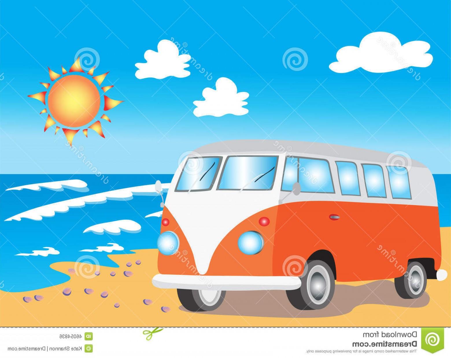 1560x1240 Stock Illustration Retro Camper Van Beach Vector Illustration