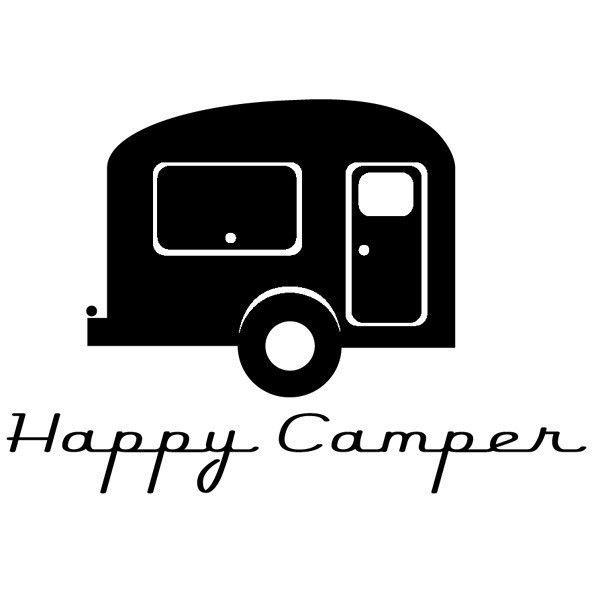 600x600 Black Amp White Clipart Vintage Camper