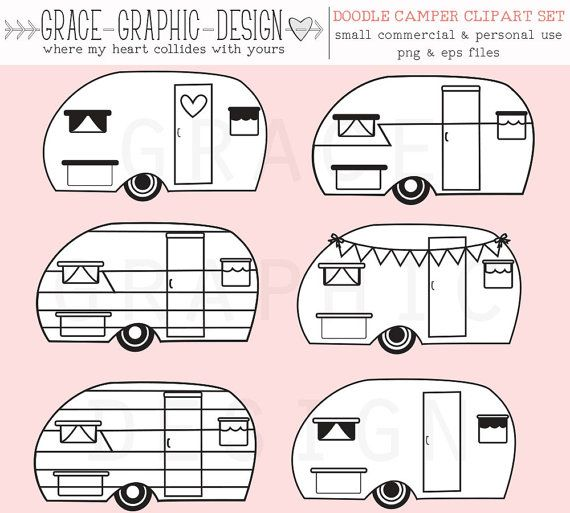570x513 Camper Clipart, Retro Camper Clipart, Vector Clipart, Commercial