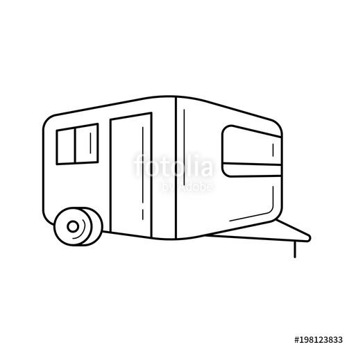 500x500 Camper, Retro Caravan Vector Line Icon Isolated On White