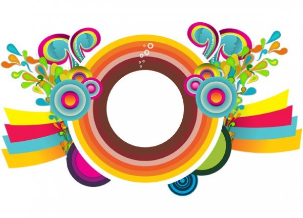 600x432 Colorful Circles Retro Design Vector Background