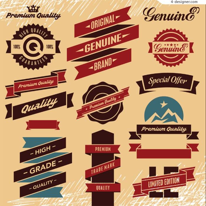 700x699 4 Designer Retro Promotion Label Design Vector Material