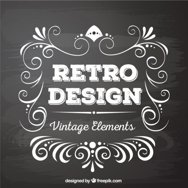 626x626 Retro Design Elements In Blackboard Style Vector Free Download