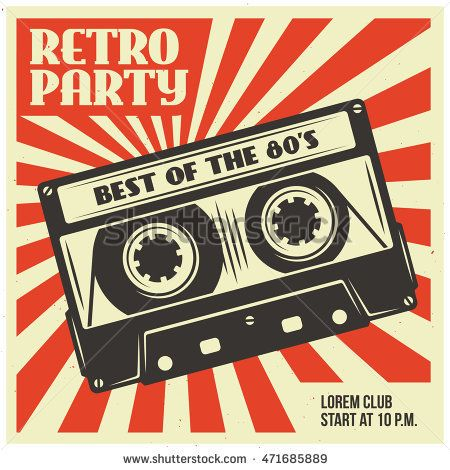 450x470 Retro Party Advertising With Audio Cassette. Old School Poster