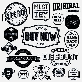 340x340 Black And White Retro Labels Design Vector 02 Free Download