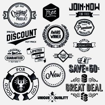 340x340 Black And White Retro Labels Design Vector 03 Free Download