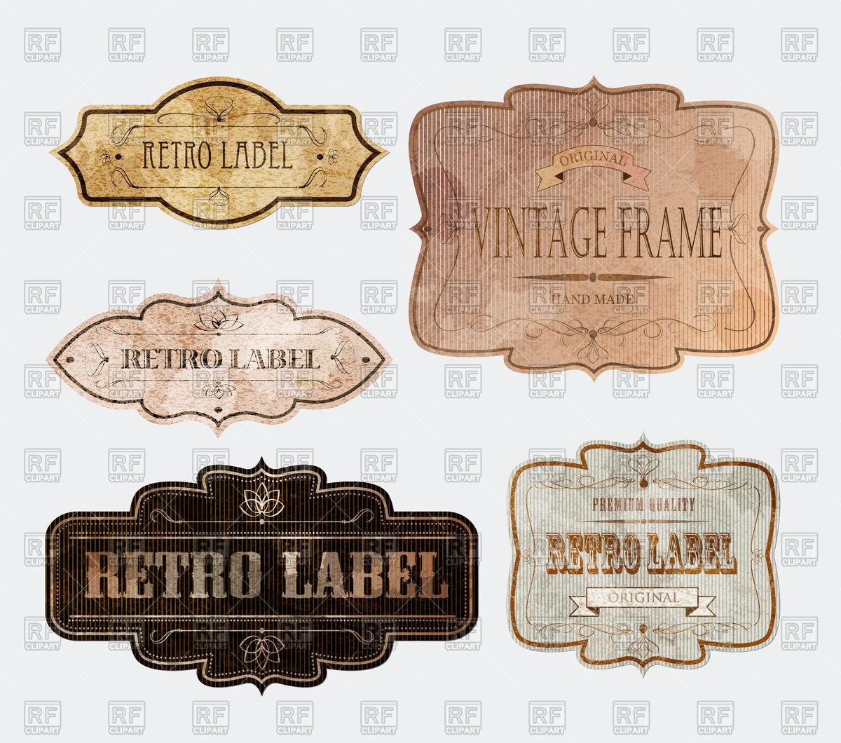 1200x1060 Different Vintage Labels Vector Image Vector Artwork Of Design