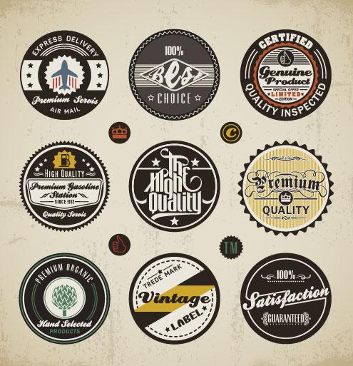 495x513 Various Elements Vintage Labels Vector 01 Free Download