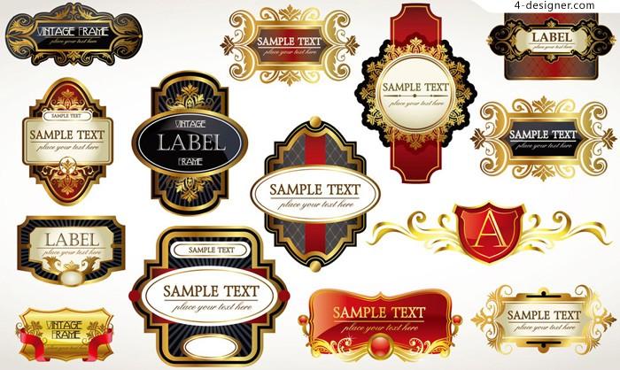 700x418 4 Designer Gorgeous Retro Label Vector Material