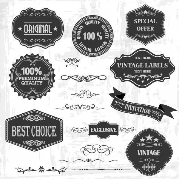 600x600 Vintage Labels And Ornaments Free Vector In Adobe Illustrator Ai