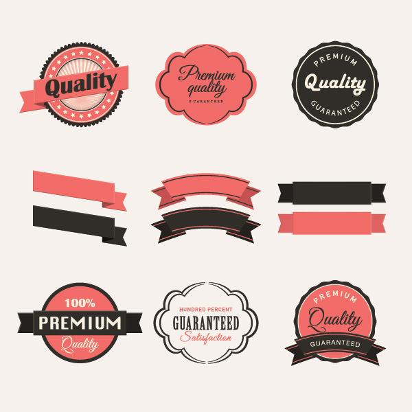 600x600 Blank Ribbon With Retro Labels Vector Material Free Download
