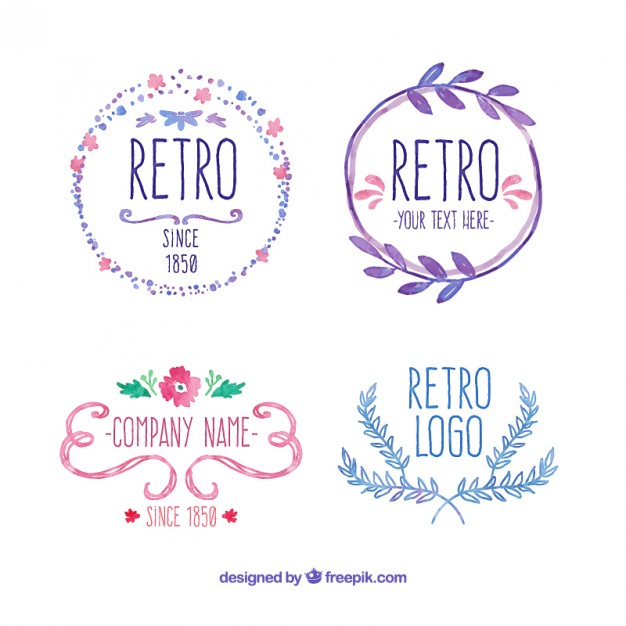 626x626 Hand Painted Retro Badges Vector Free Download