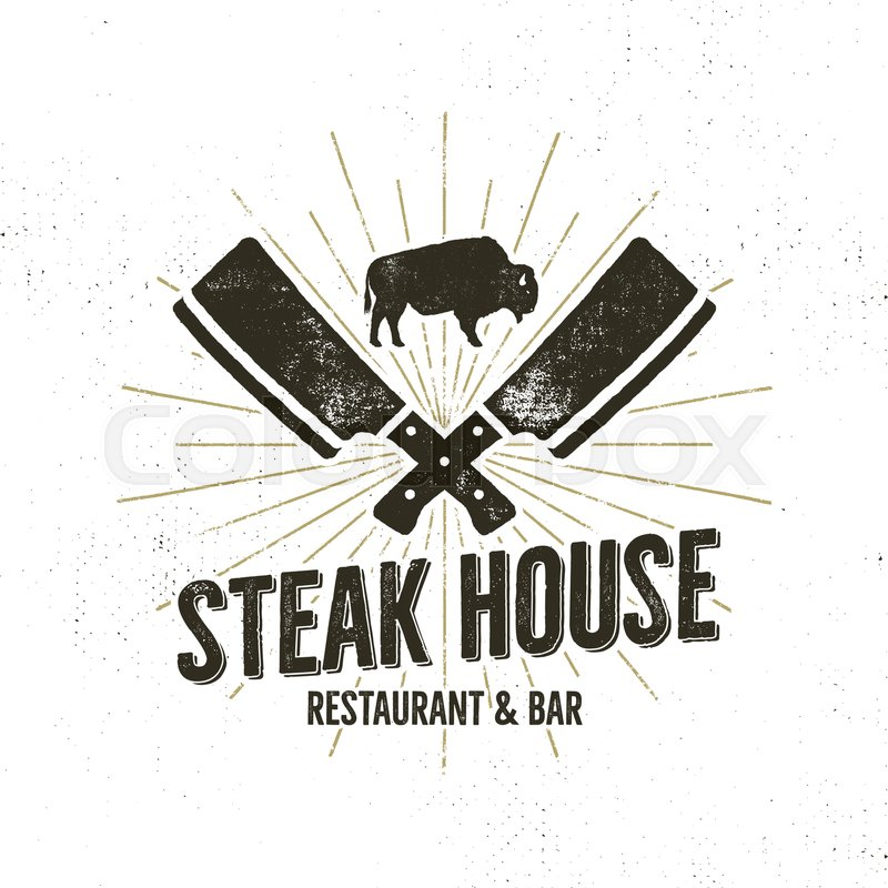 800x800 Steak House Vintage Label. Typography Letterpress Design. Vector