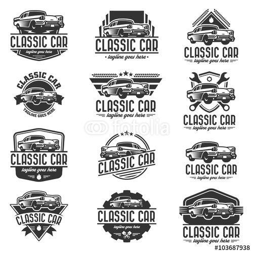 500x500 Vector Vector Car Logo Set, Retro Car Logo Template Old Signs