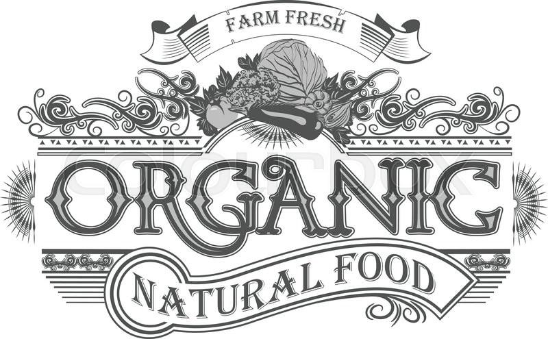 800x495 Vector Retro Farm Fresh Emblem. Vintage Organic Food Logo Stock