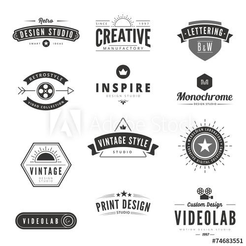 500x500 Vintage Retro Logos Labels Vector. Typography Logo