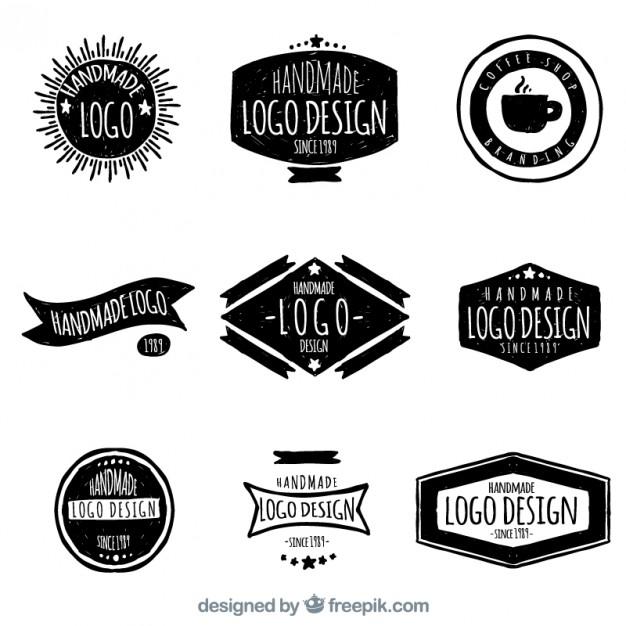 626x626 Hand Drawn Retro Logos Vector Free Download