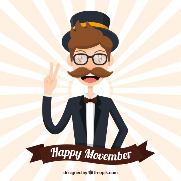 626x626 Flat Movember Design With Retro Man Vector Free Download