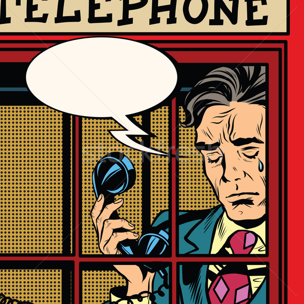 600x600 Retro Man Crying In The Red Phone Booth Vector Illustration