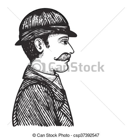 450x470 Retro Man In Coat And Hat. Vector Illustration Of Vintage Engraved