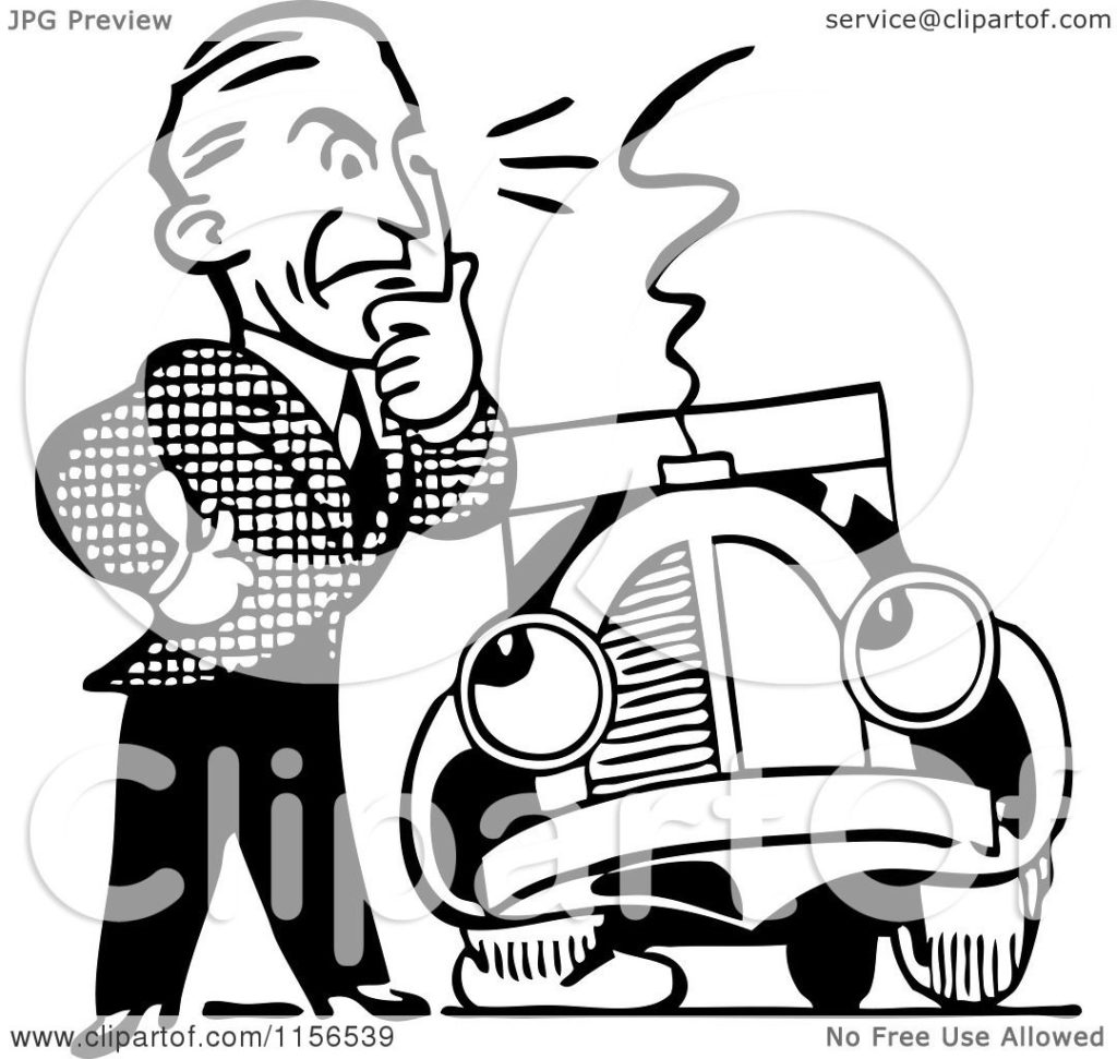 1024x971 Clipart Of A Black And White Retro Man Car With Flat Tire Royalty