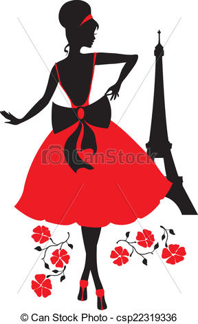 288x470 Retro Woman Silhouette. Retro Woman Red And Black Silhouette With