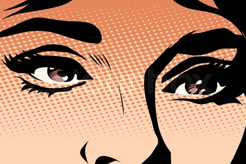 800x533 Brown Eyes Retro Woman Pop Art Pop Art Retro Vector. Makeup And