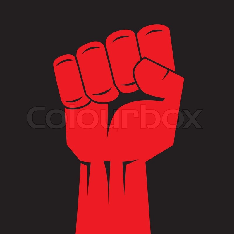 800x800 Fist Red Clenched Hand Vector. Victory, Revolt Concept. Revolution