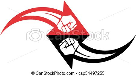 450x253 Muscular Clenched Fist Vector Emblem Created In Shape Of Arrow