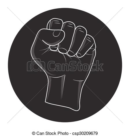 450x470 Raised Fist. Vector Of Raising Fist In Black Circle. Call To Fight